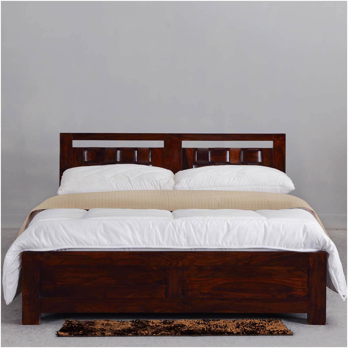 Modern Rustic Minnesota Solid Wood Platform Bed w Headboard