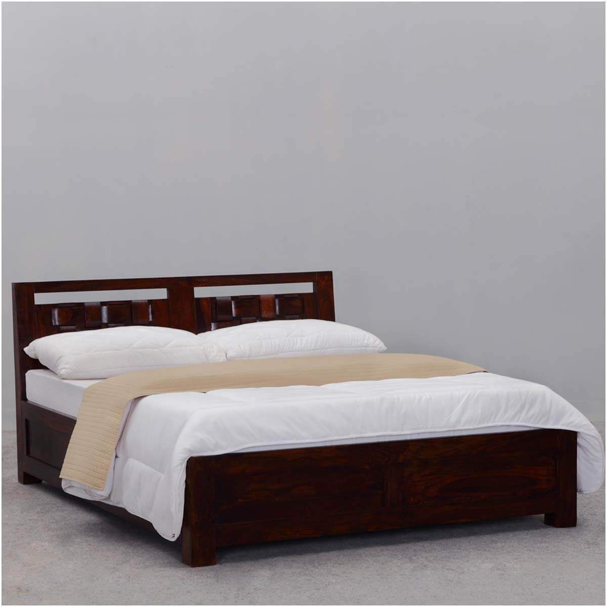 Modern rustic minnesota solid wood platform bed w headboard Wood platform bed