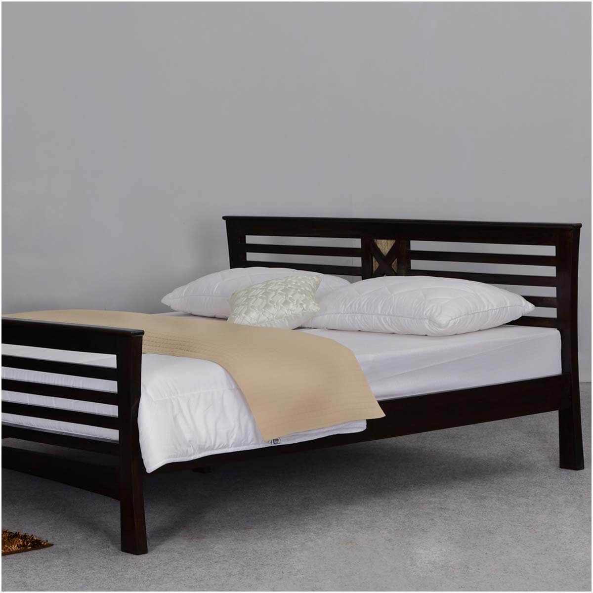 Texas solid wood queen size platform bed frame w headboard for Queen bed frame