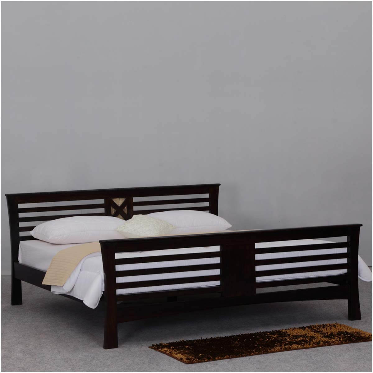 texas solid wood king size platform bed frame w headboard footboard. Black Bedroom Furniture Sets. Home Design Ideas