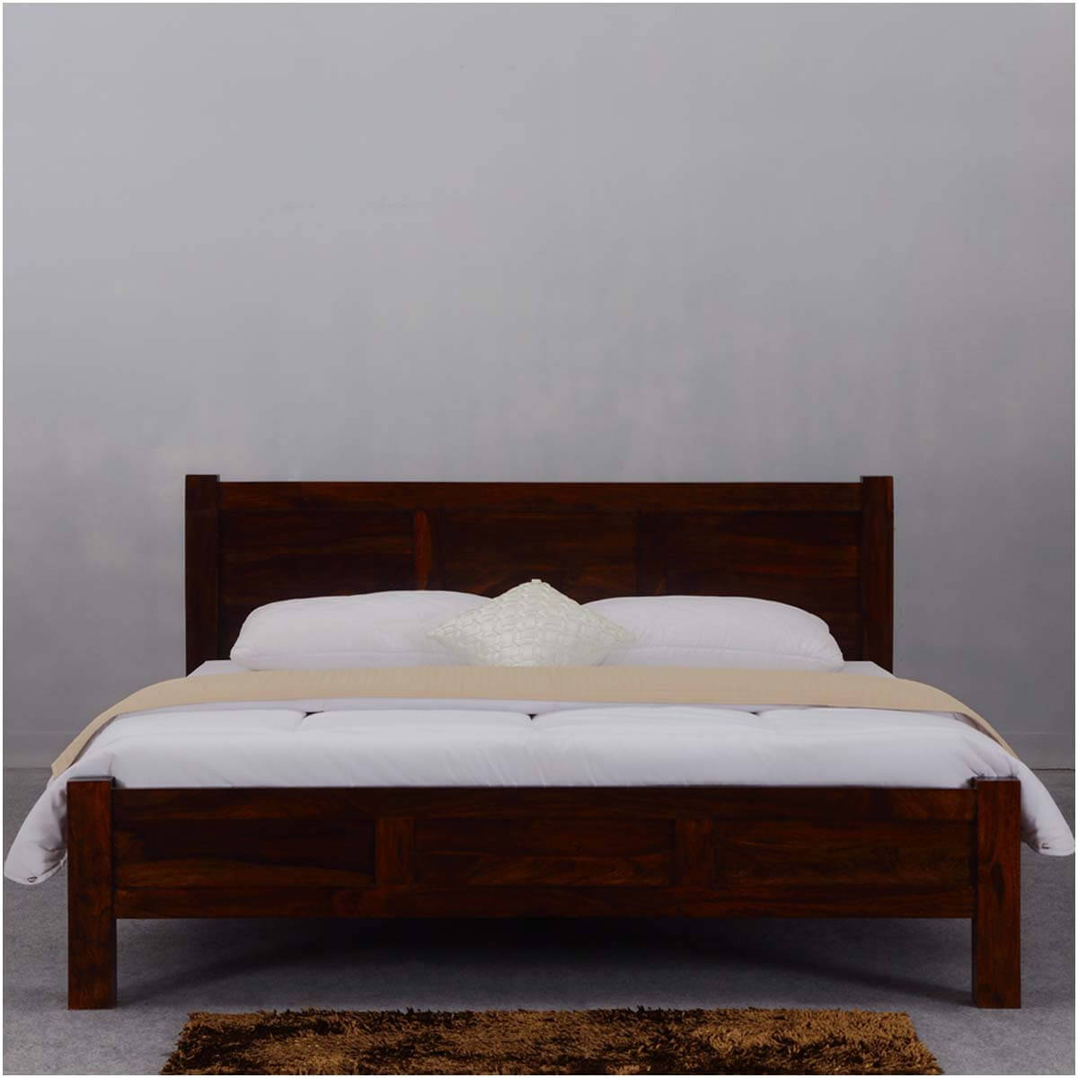 Rustic Mediterranean Solid Wood Modern Style Full Size Bed