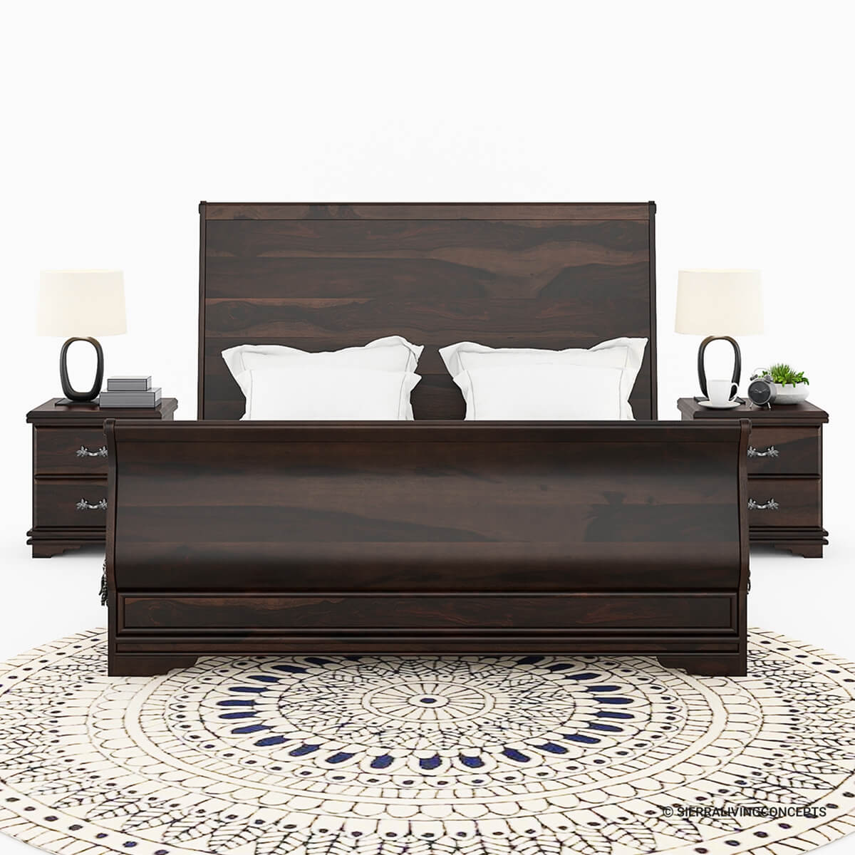 sleigh back solid wood full size platform bed frame. Black Bedroom Furniture Sets. Home Design Ideas