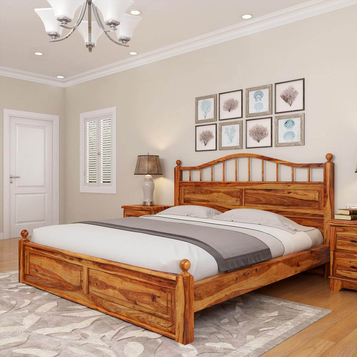 Solid Wood Bedroom Suites Modern Farmhouse Rustic Solid Wood Platform Bed 3pc Suite