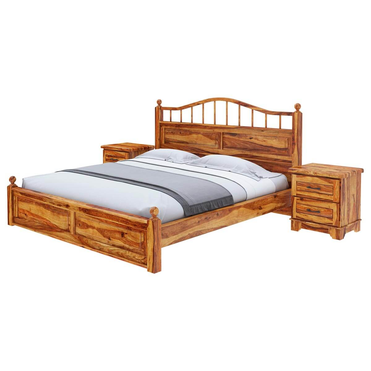 Colonial rail top solid wood king size platform bed frame Wood platform bed