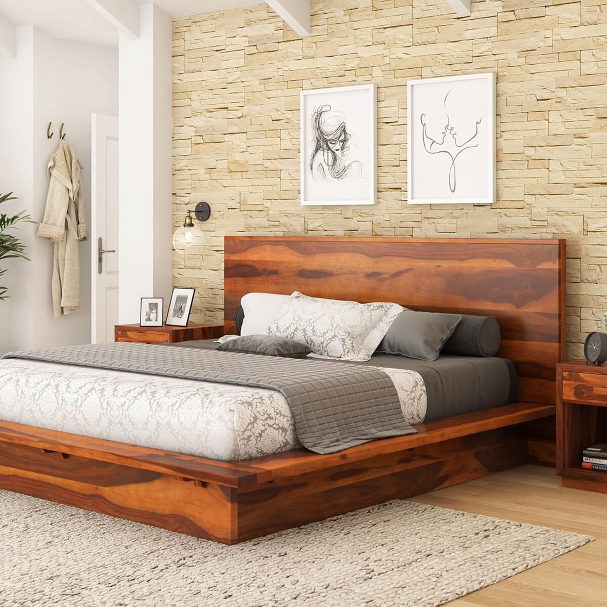 Delaware solid wood platform bed frame for Bedroom set and mattress
