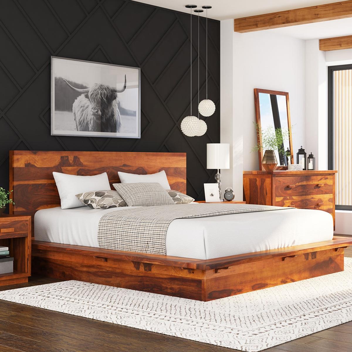 solid wood platform bed frame pc suite - delaware solid wood platform bed frame pc suite