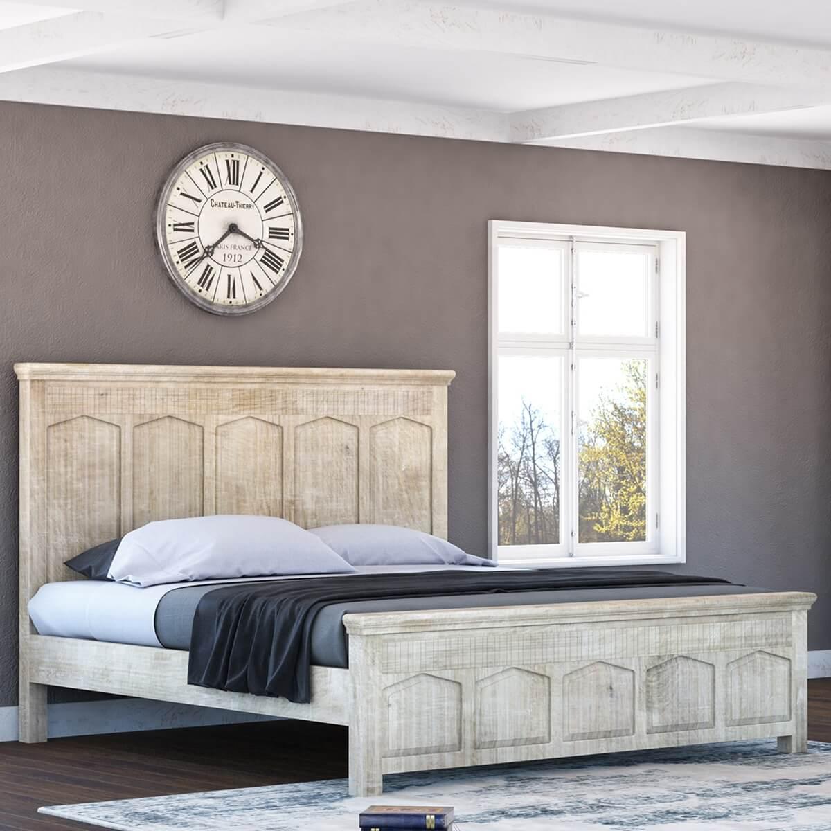 mission winter white full size platform bed frame w high headboard. Black Bedroom Furniture Sets. Home Design Ideas