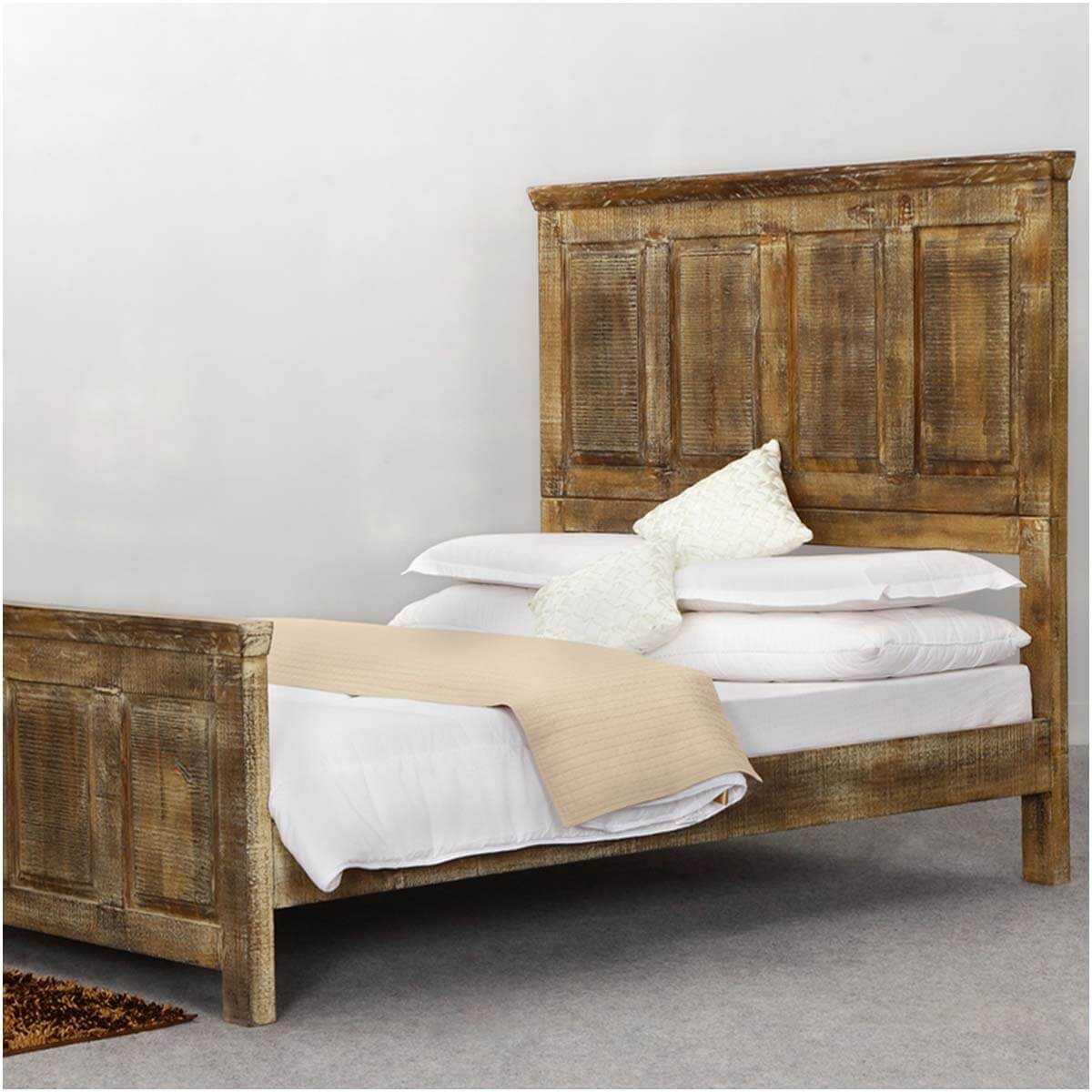 Mission golden rustic wood platform bed w footboard high