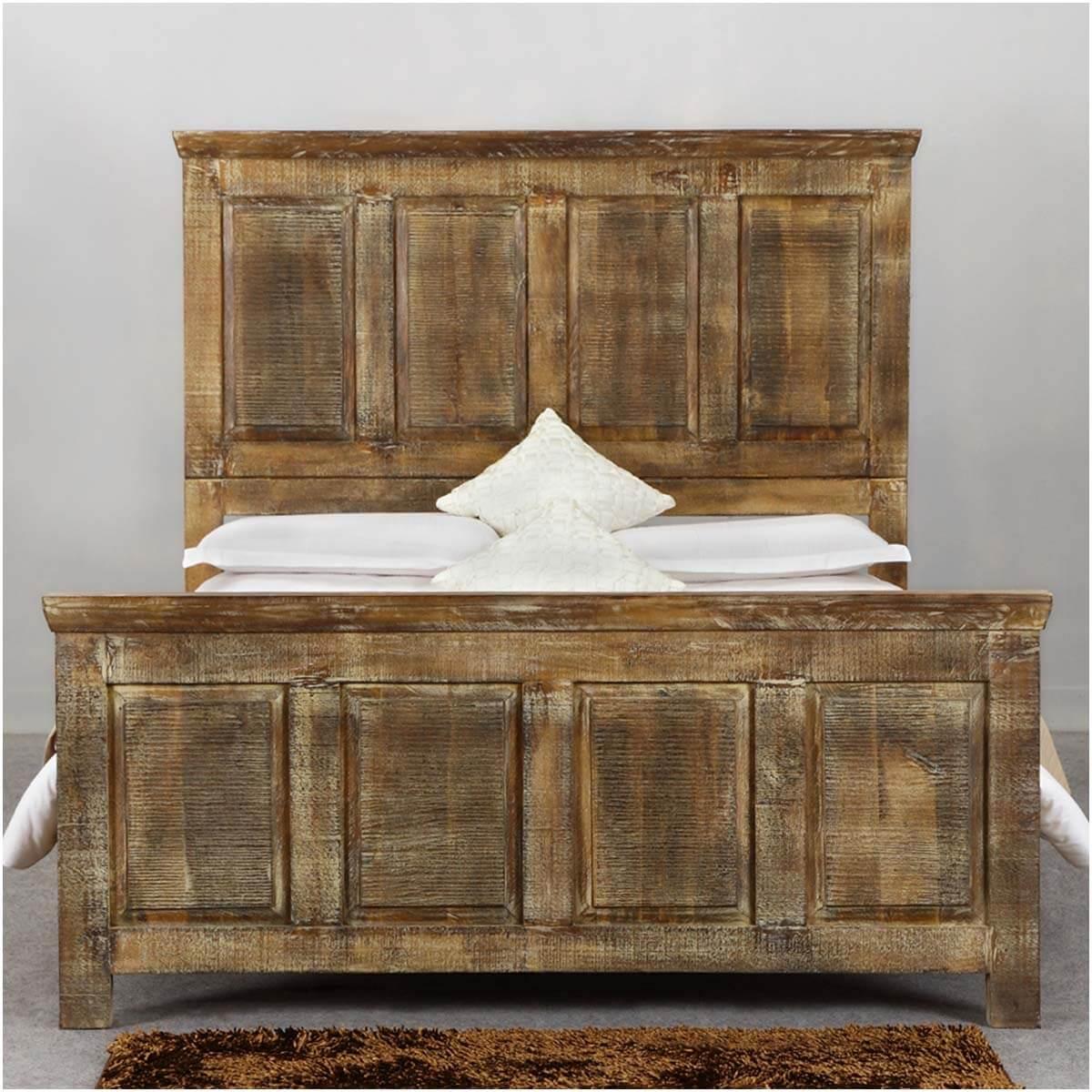 Mission Golden Rustic Wood Platform Bed w Footboard & High ...