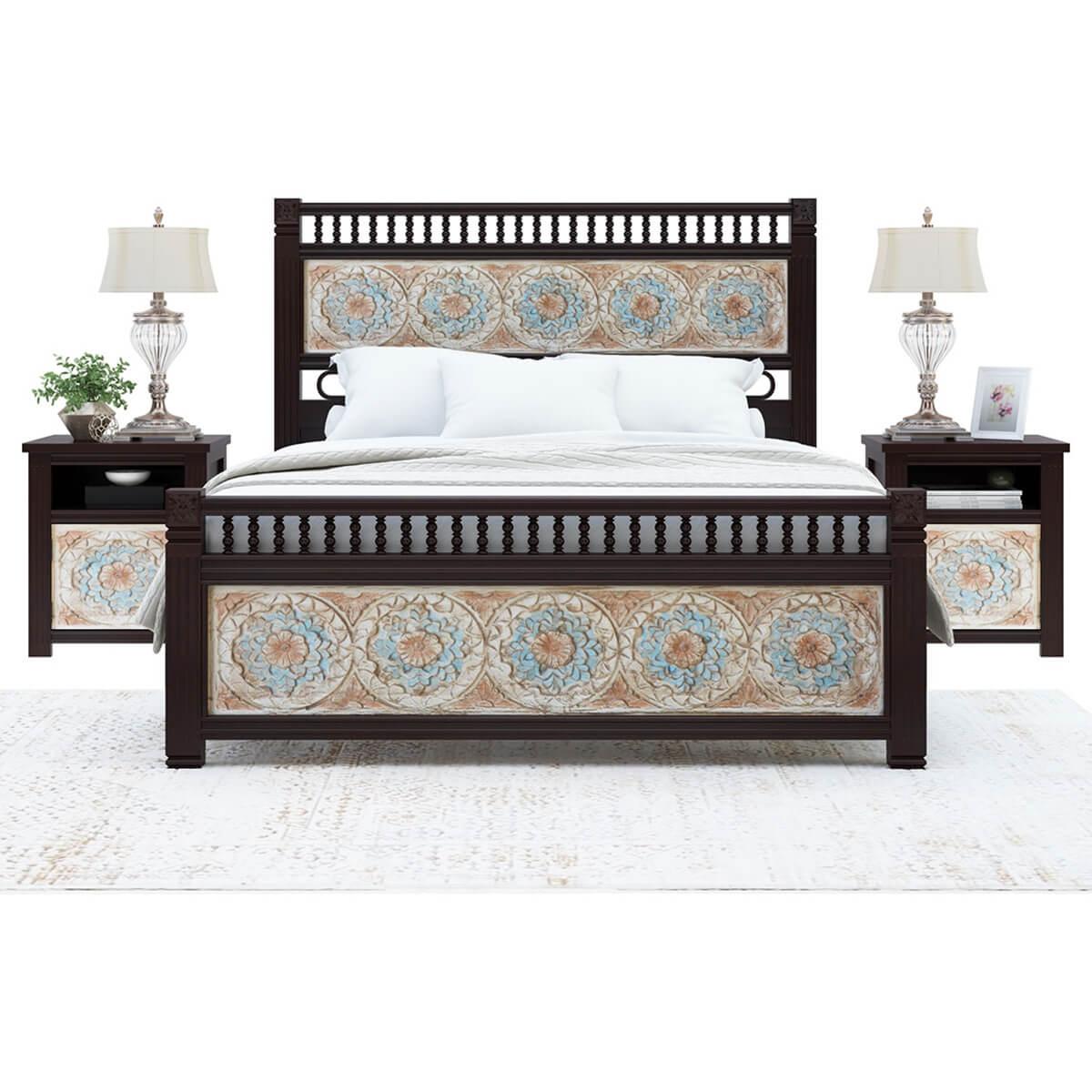 English garden mango wood hand carved platform bed w foot