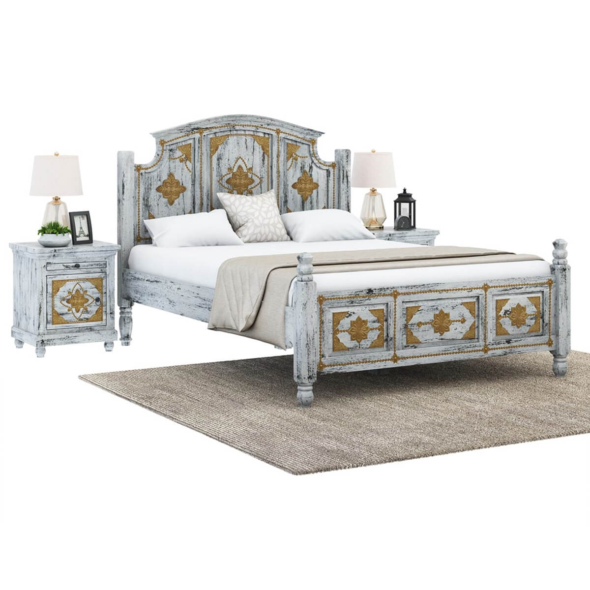 tudor distressed mango wood brass inlay platform bed frame - Distressed Bed Frame