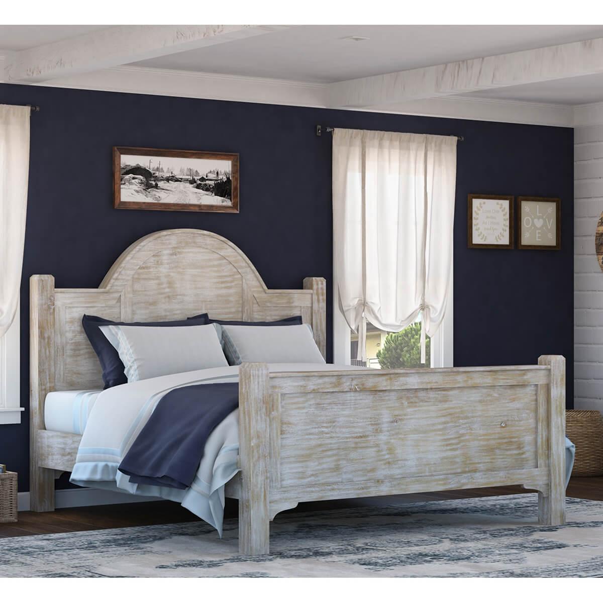Gothic Rustic Winter White Mango Wood Platform Bed w Foot & Headboard