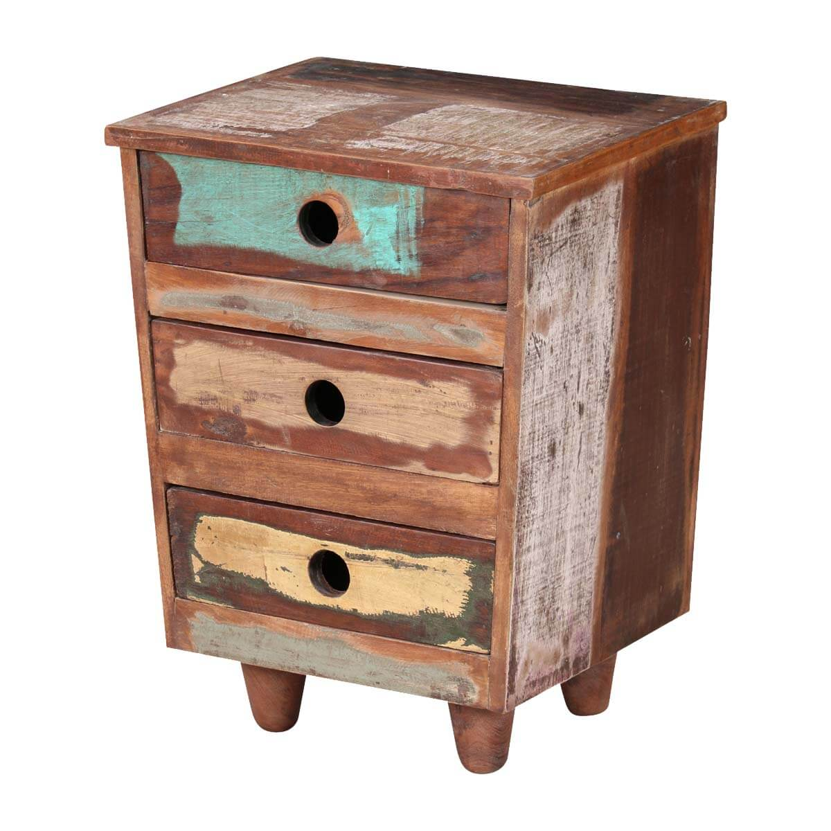 Reclaimed Wood End Tables ~ Sedona three drawer reclaimed wood rustic end table