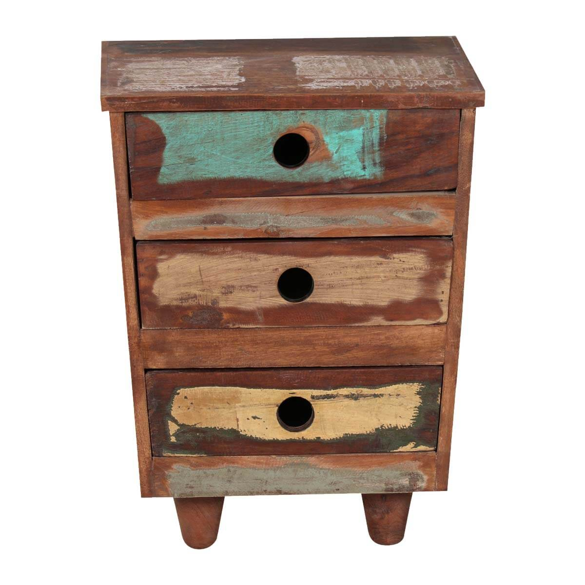 Sedona Three Drawer Reclaimed Wood Rustic End Table