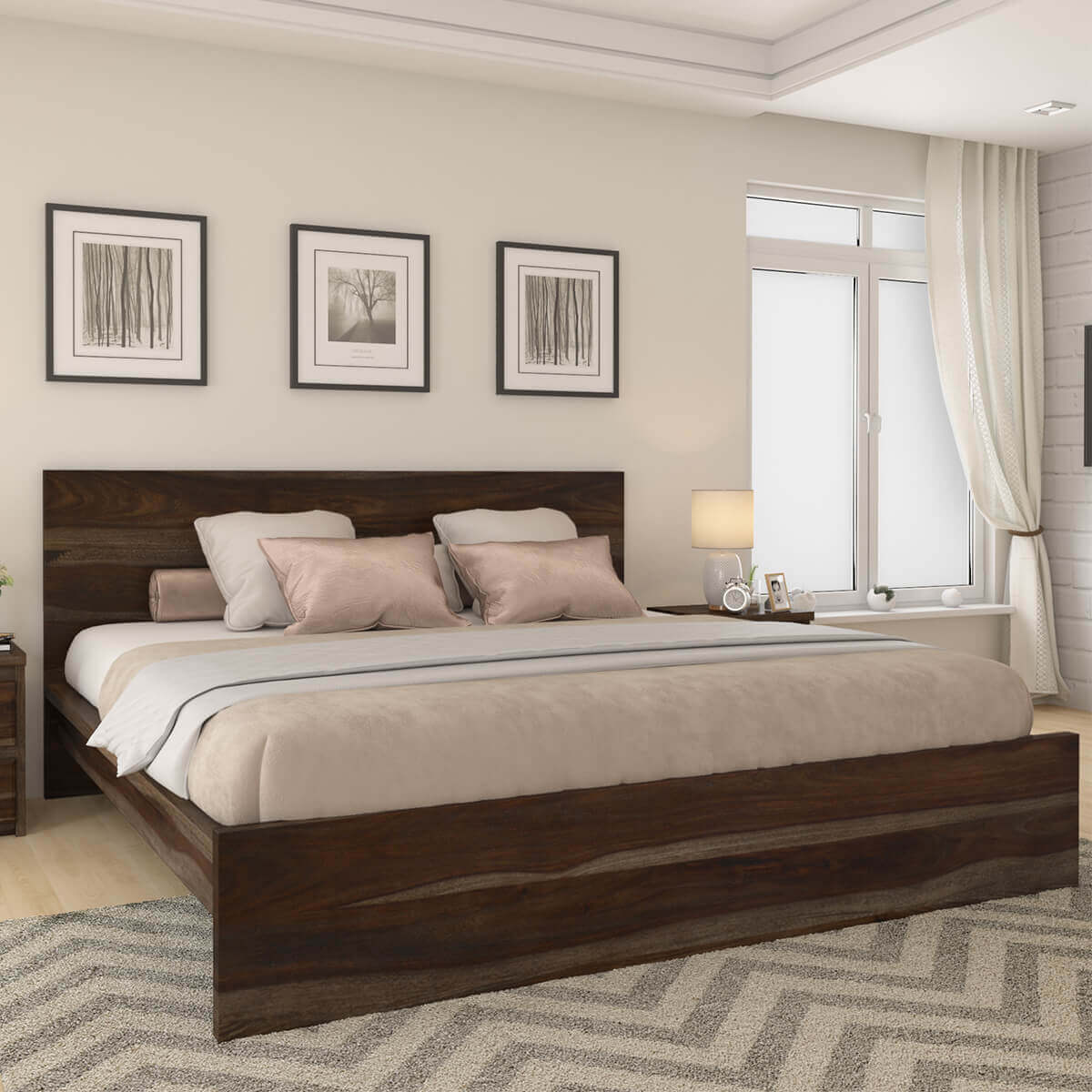 Delaware solid wood platform bed frame 3pc suite Wood platform bed