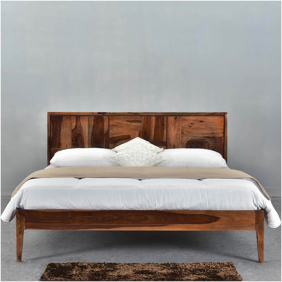 sunrise modern pioneer solid wood california king size platform bed. Black Bedroom Furniture Sets. Home Design Ideas