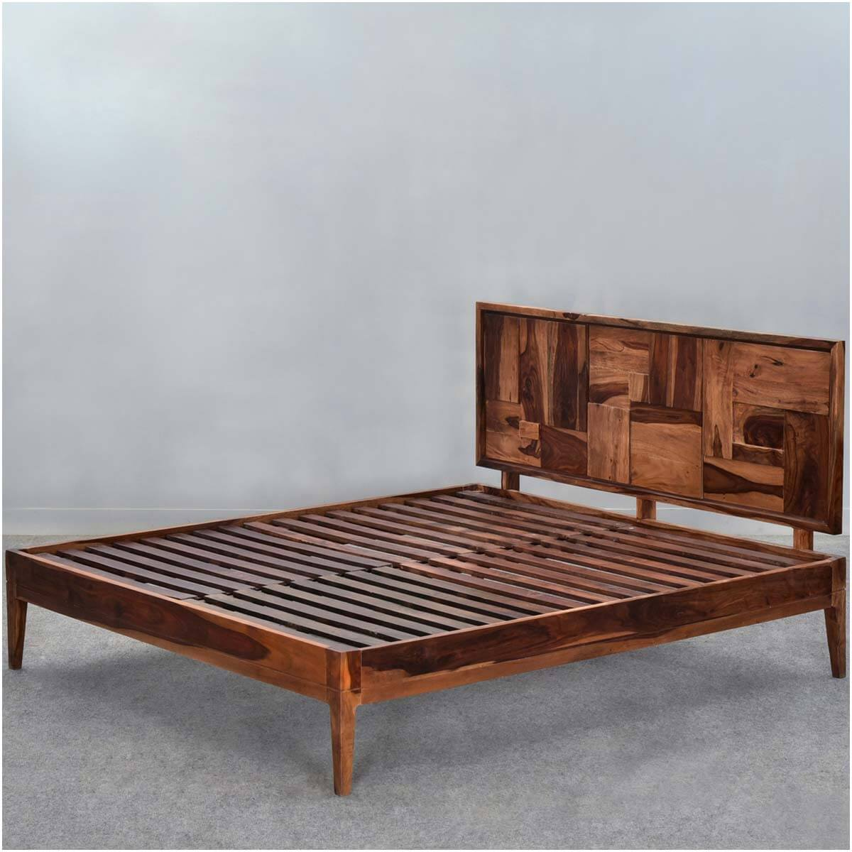 sunrise modern pioneer solid wood full size platform bed frame. Black Bedroom Furniture Sets. Home Design Ideas