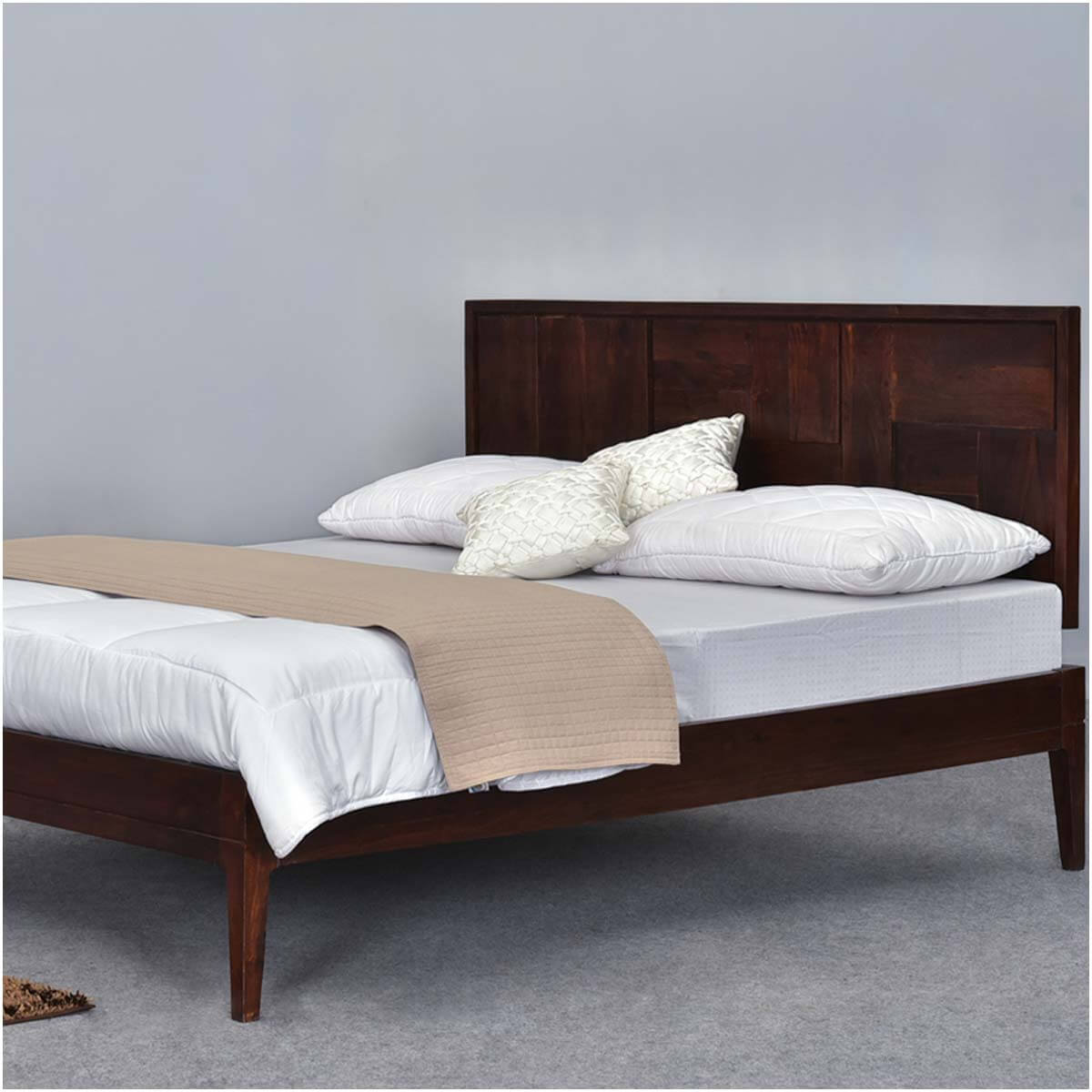 modern pioneer solid wood california king size platform bed frame. Black Bedroom Furniture Sets. Home Design Ideas