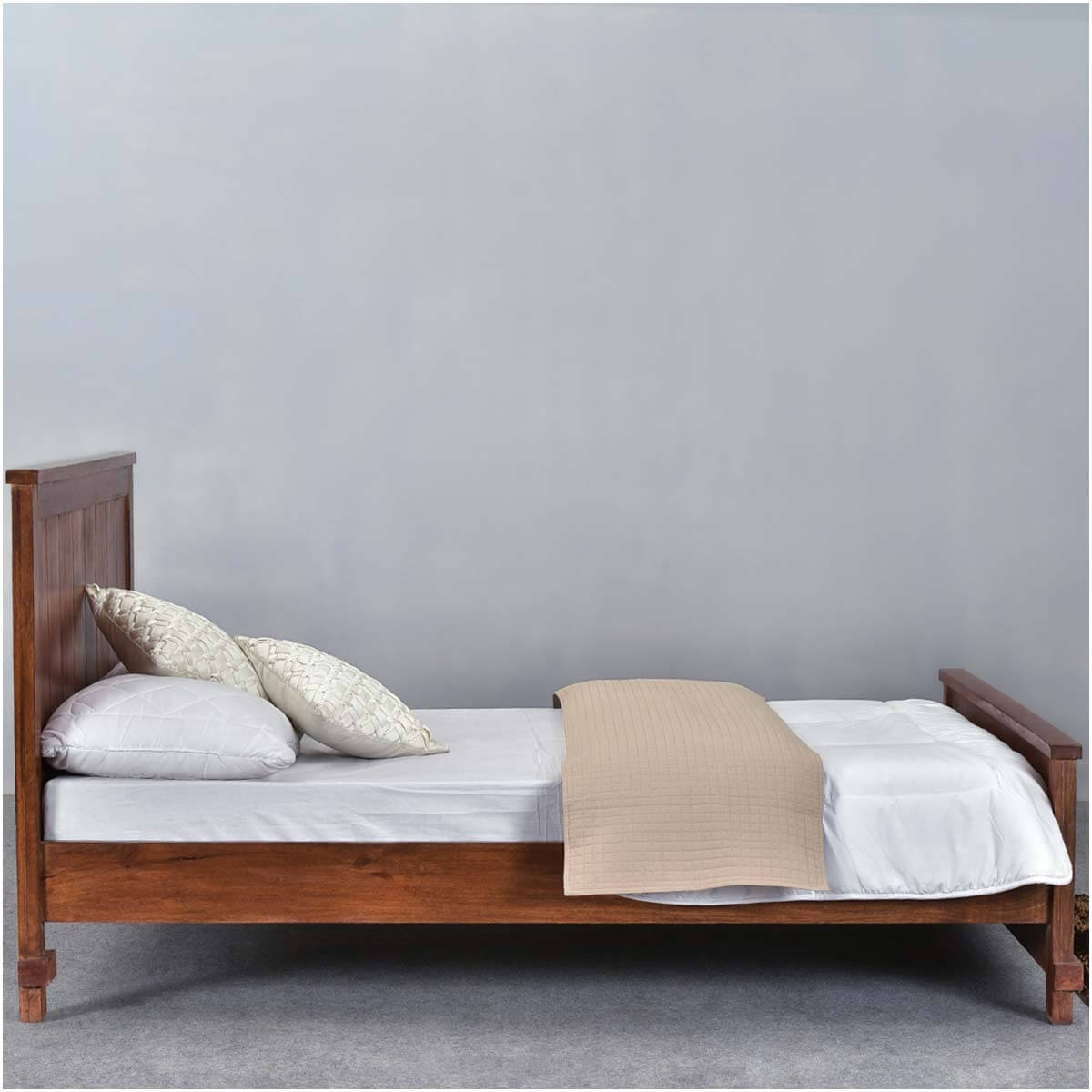 santa fe mission solid wood rustic platform bed w foot headboard. Black Bedroom Furniture Sets. Home Design Ideas