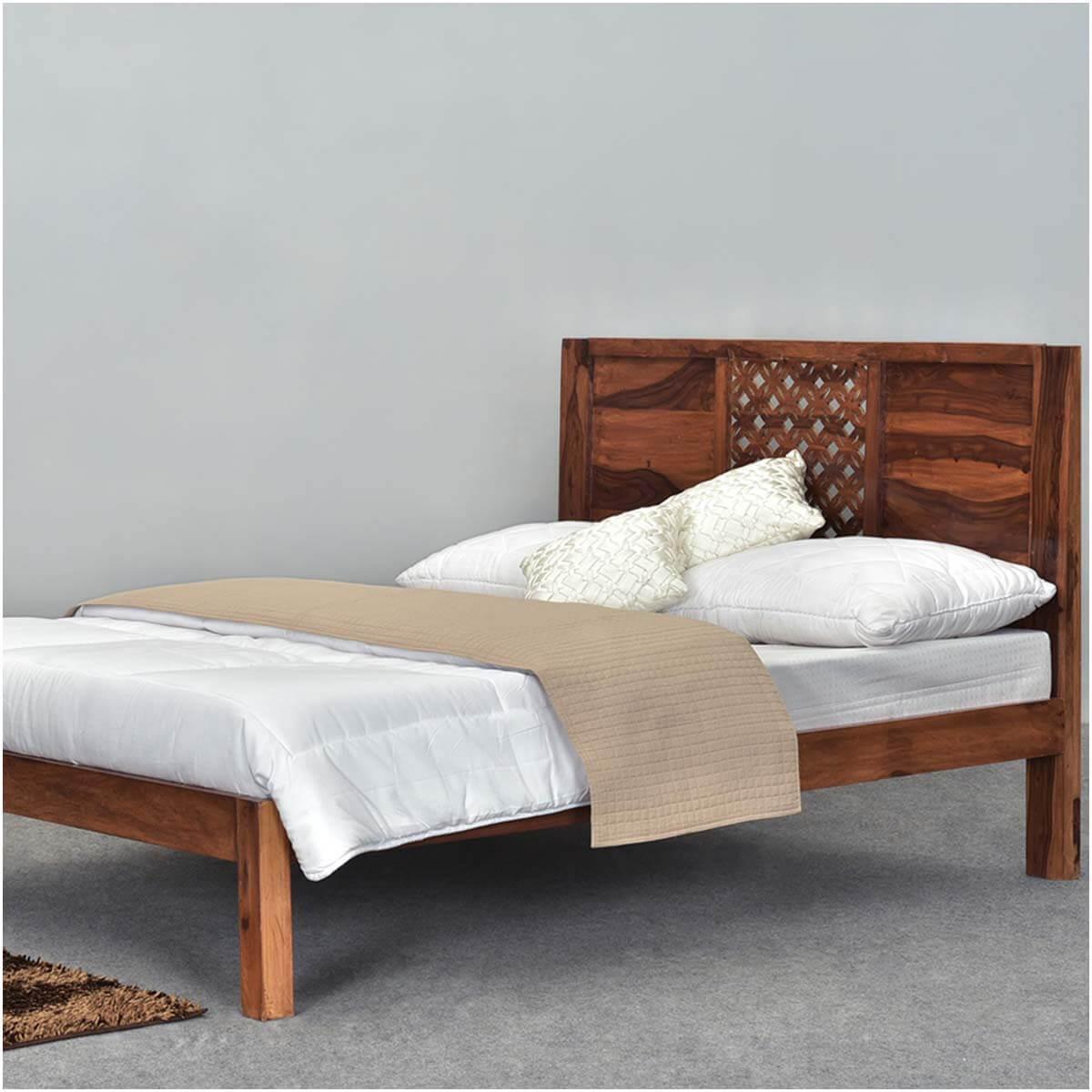 diamond lattice solid wood rustic full size platform bed frame. Black Bedroom Furniture Sets. Home Design Ideas