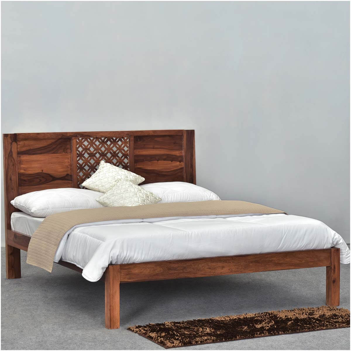 diamond lattice solid wood rustic platform bed frame w headboard. Black Bedroom Furniture Sets. Home Design Ideas