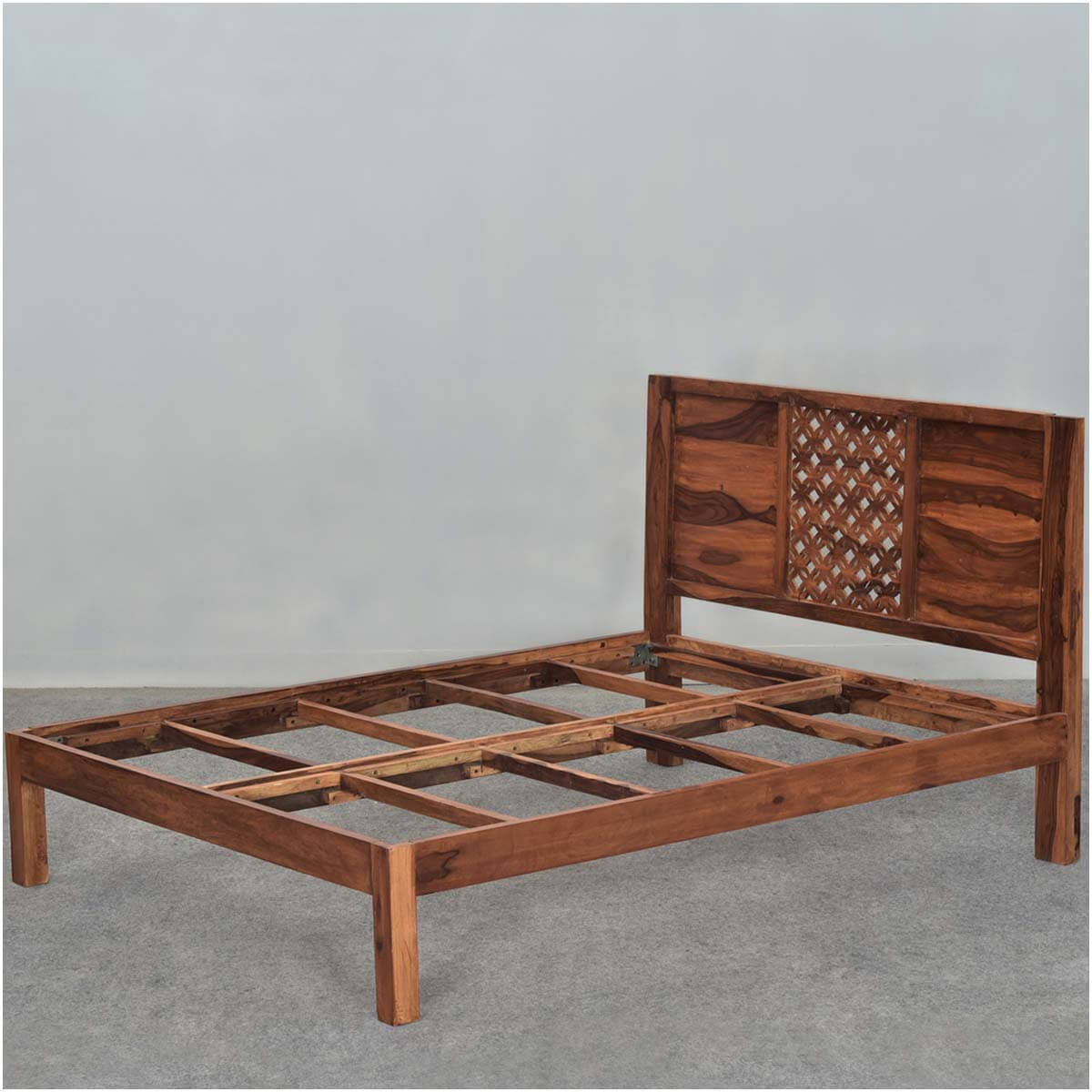 diamond lattice solid wood rustic platform bed frame w headboard