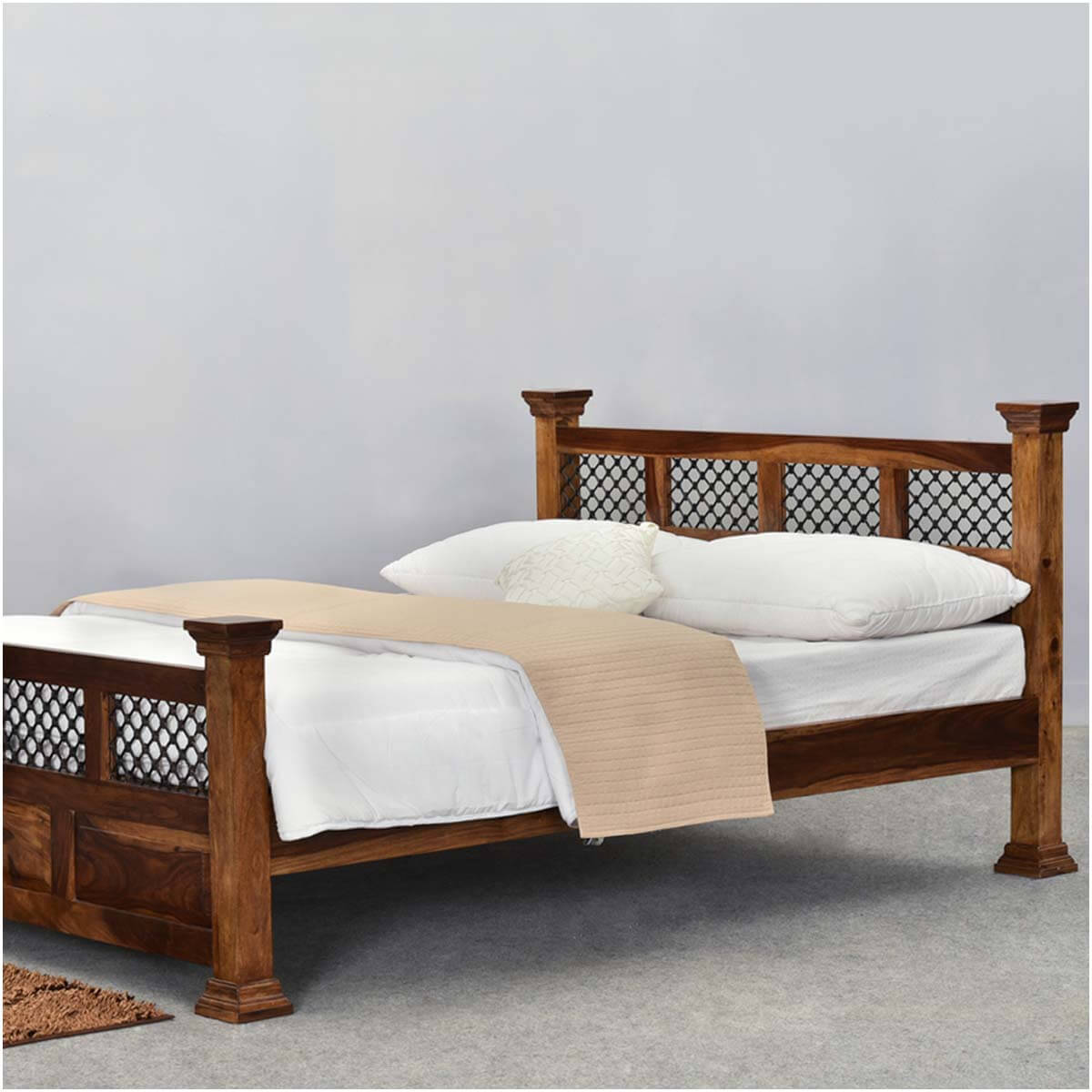 ranch diamond grille rustic solid wood platform bed - dallas ranch diamond grille rustic solid wood platform bed