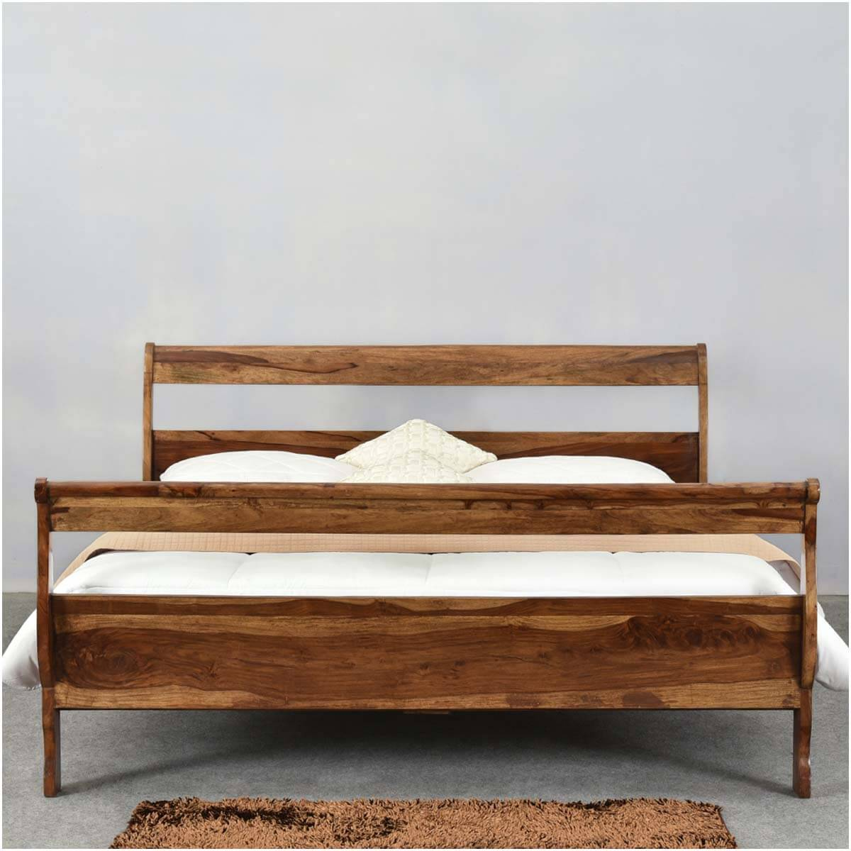 Open Slat Sleigh Style Solid Wood California King Size
