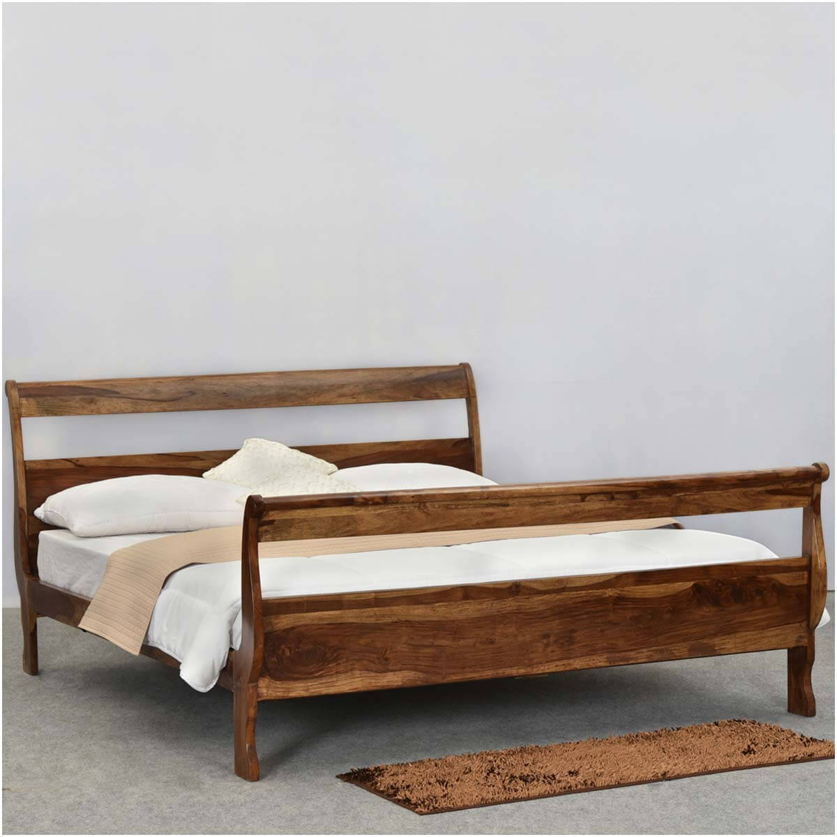 Open Slat Sleigh Style Solid Wood Full Size Platform Bed Frame