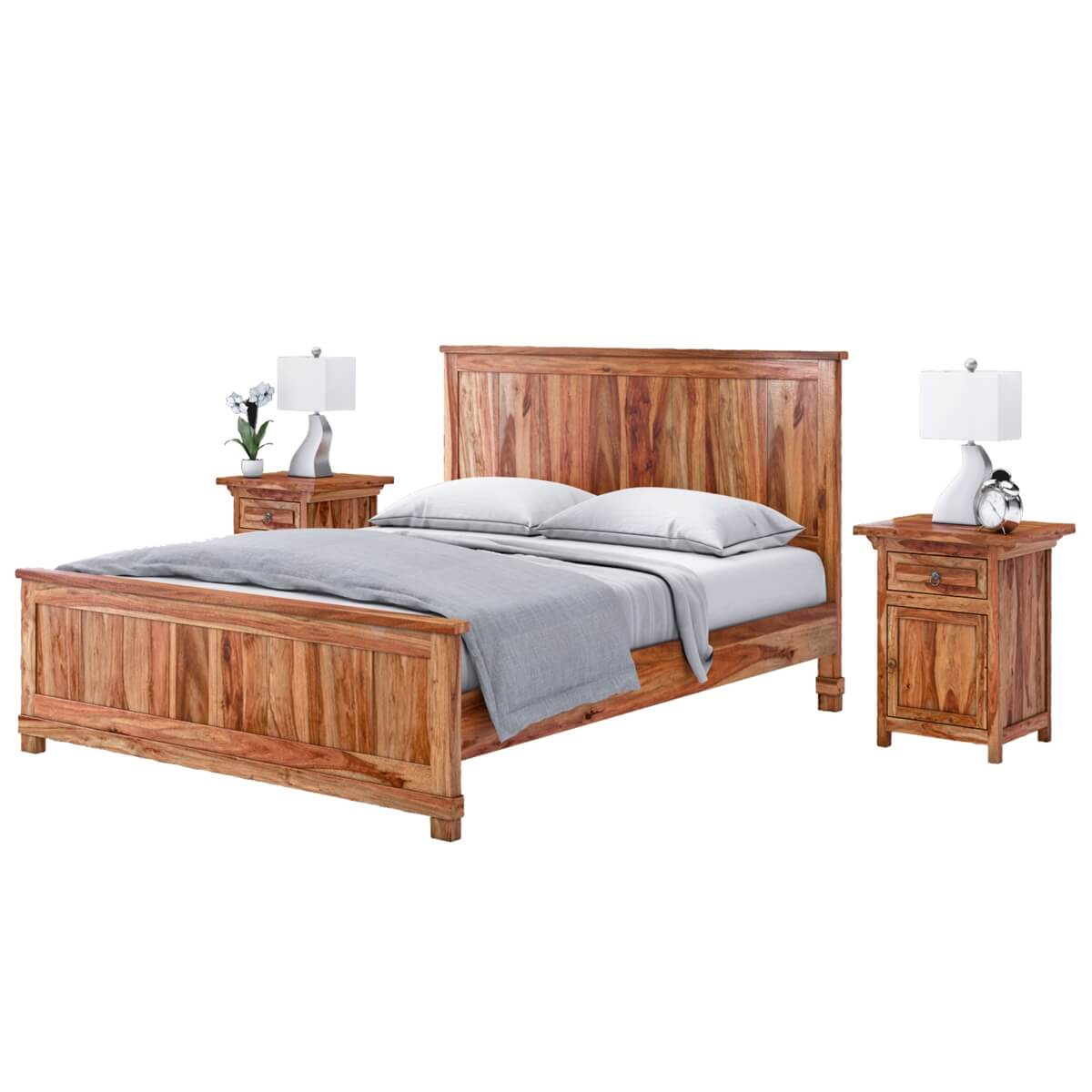 modern mission solid wood king size platform bed. Black Bedroom Furniture Sets. Home Design Ideas