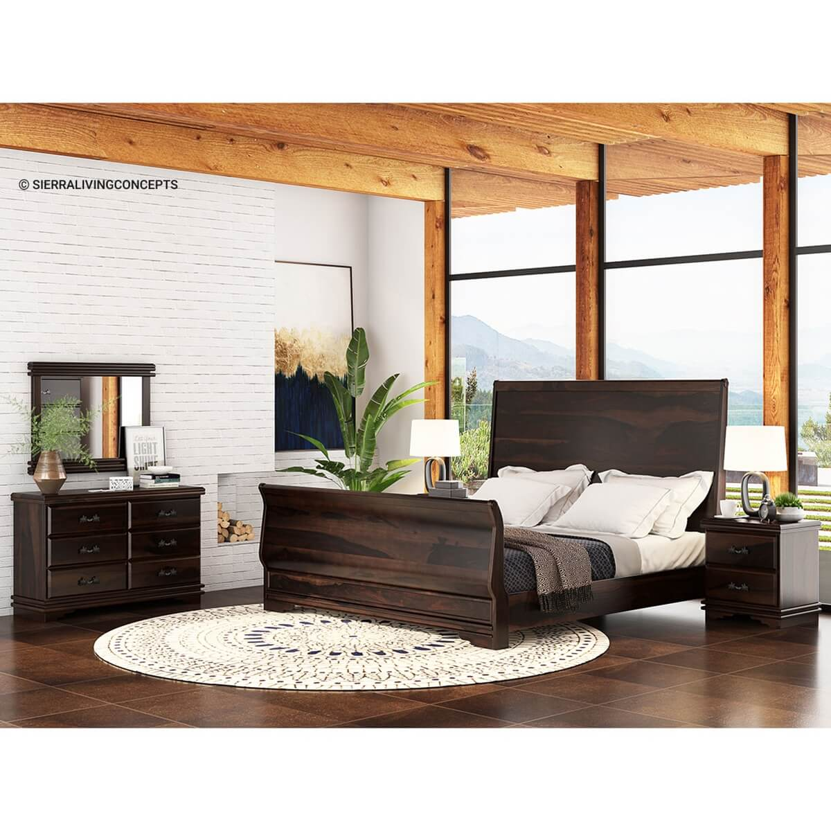 Sleigh Back Solid Wood Platform Bed 7pc Bedroom Furniture Set