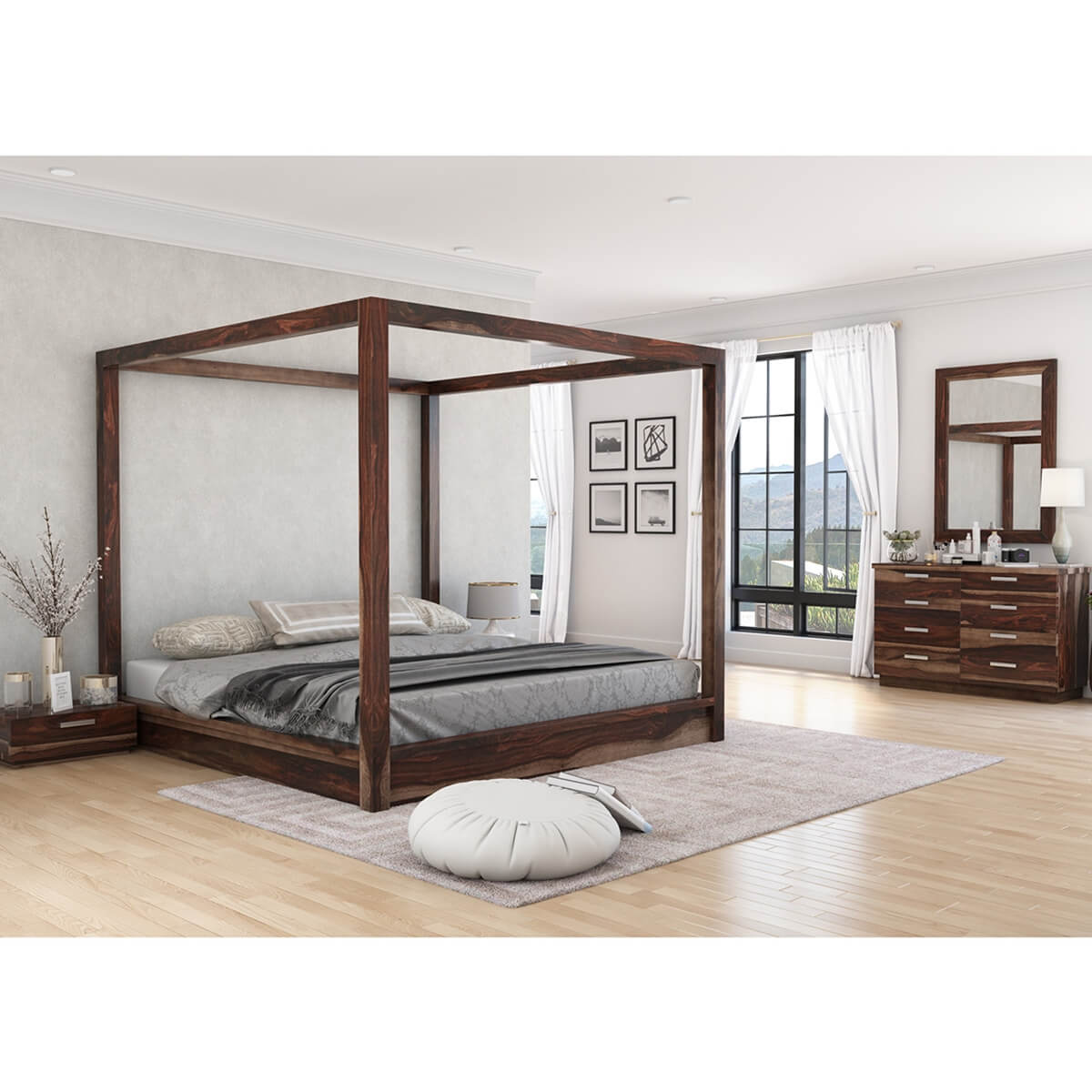 Hampshire Solid Wood Queen Size Canopy Bed 7pc Bedroom Furniture Set