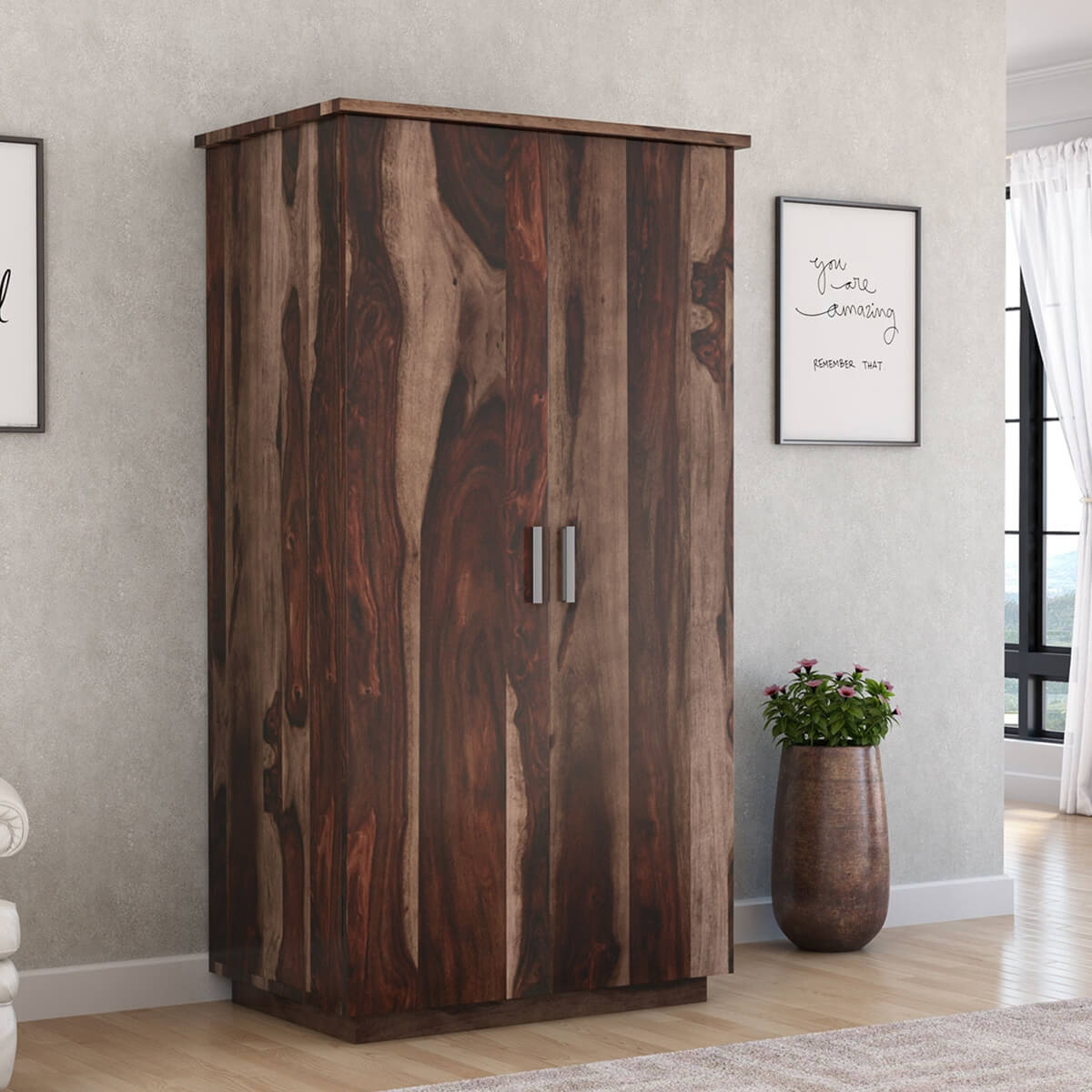 Hampshire Solid Wood Modern Armoire Wardrobe