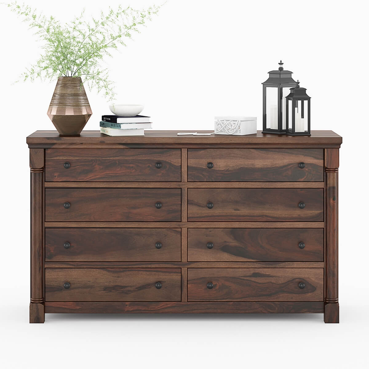 Pioneer Transitional Solid Wood 8 Drawer Bedroom Double