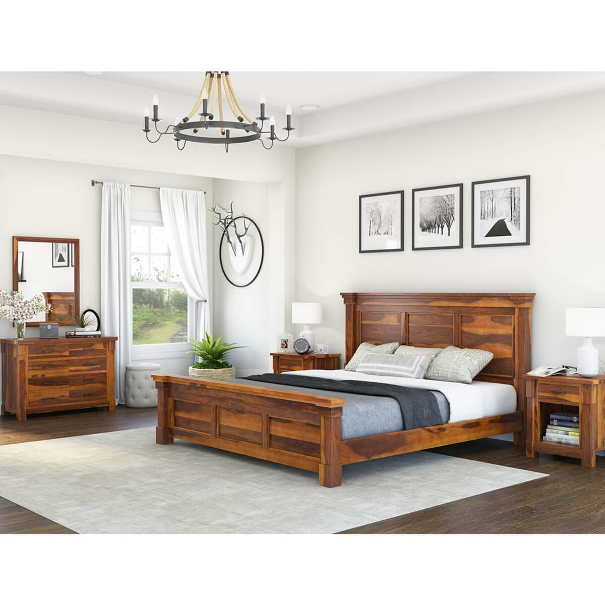 Modern Farmhouse 7 Piece Solid Wood  Bedroom Furniture Set