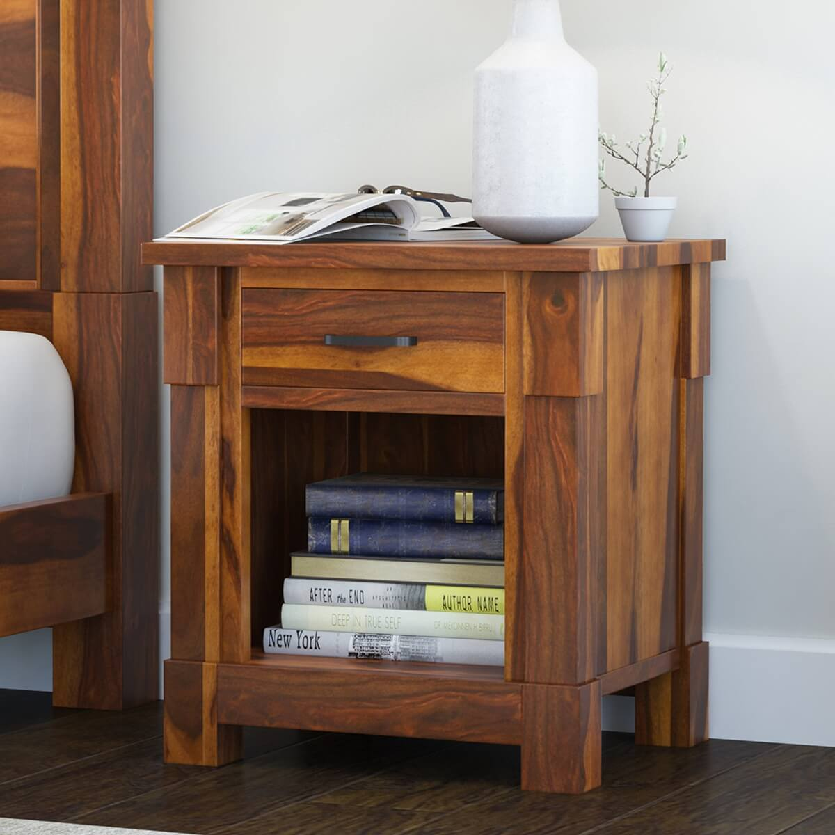 Modern Farmhouse Solid Wood Nightstand with Drawer