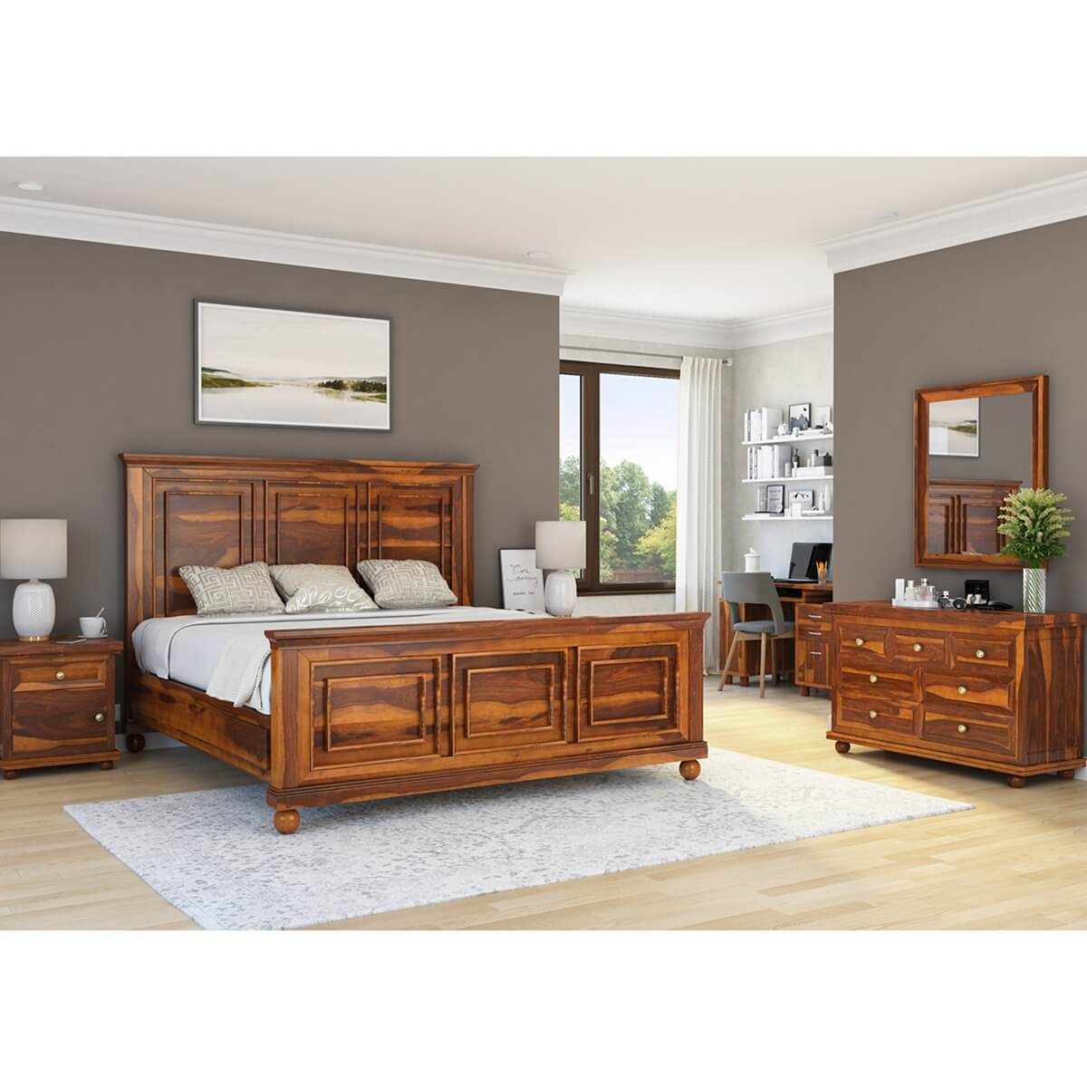 pecos solid wood full size platform bed 7pc bedroom furniture set. Black Bedroom Furniture Sets. Home Design Ideas
