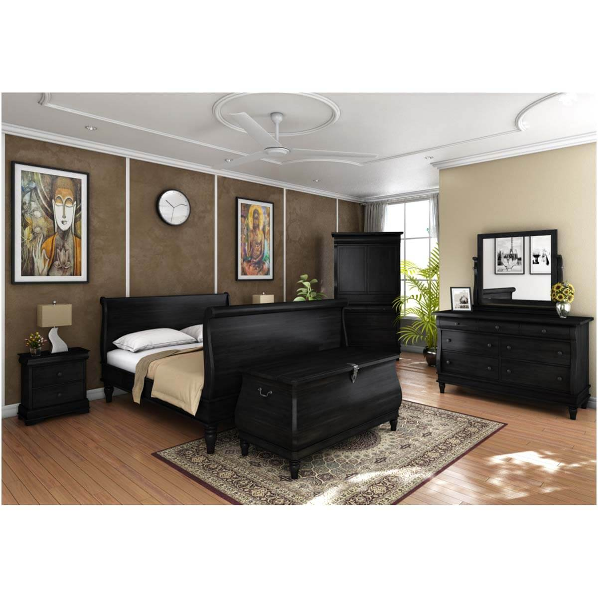 Midnight Empire Solid Wood Sleigh Bed 7pc Bedroom Furniture Set