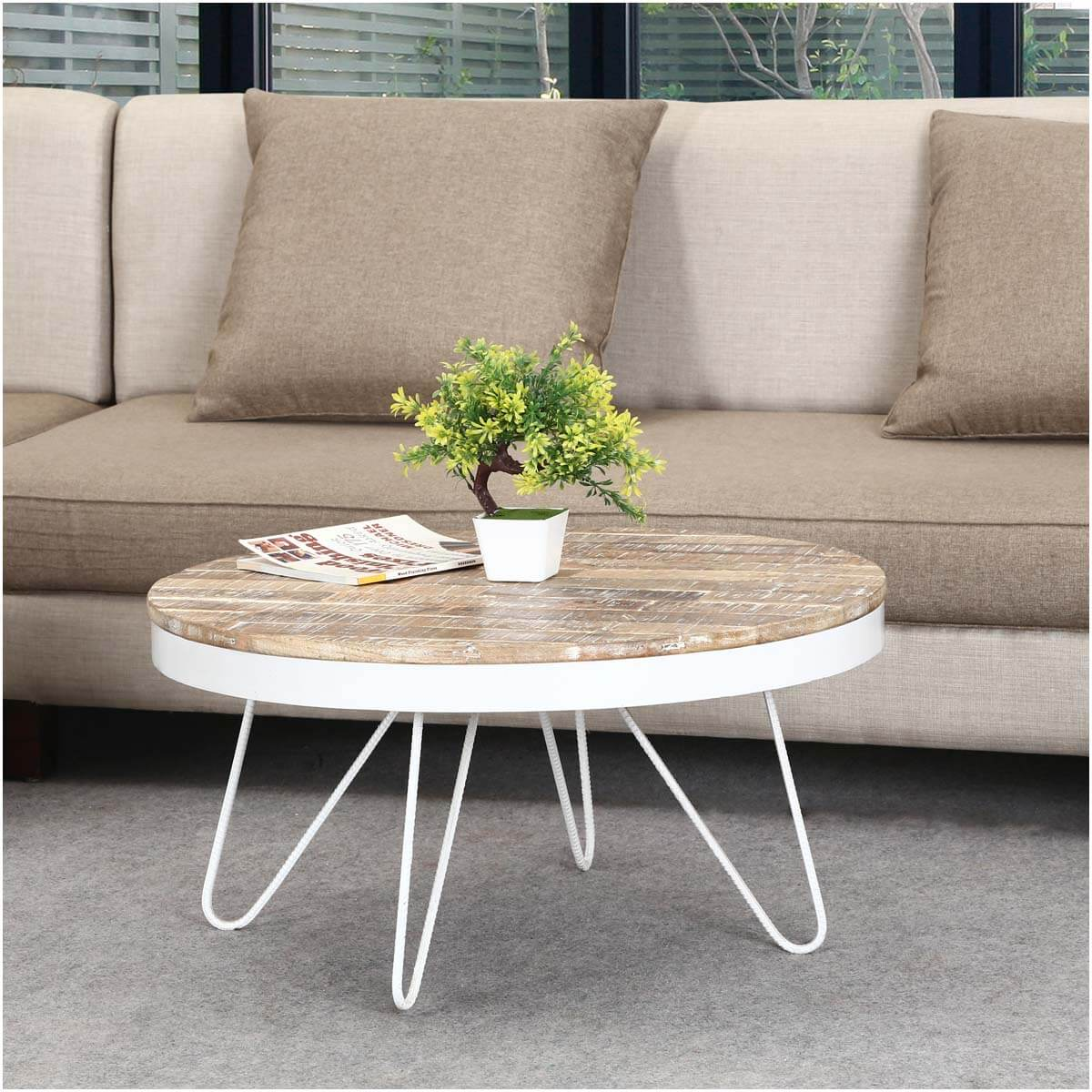 """Industrial Coffee Table White: 31"""" Round Industrial White Accent Coffee Table"""