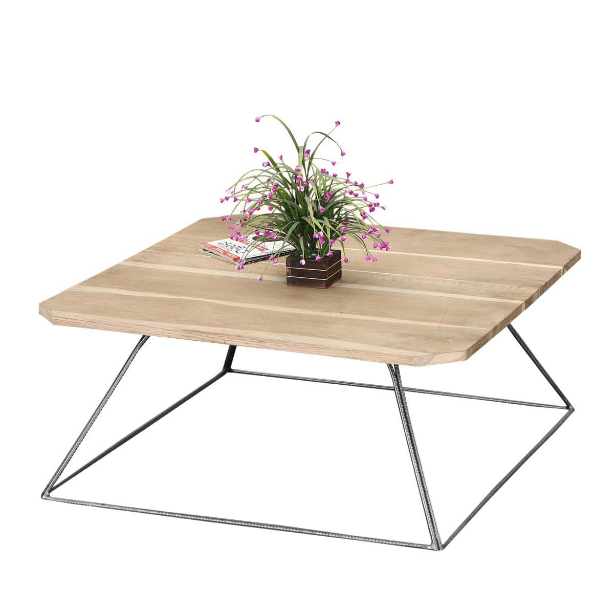 Trapezoidal Prism Base Solid Wood Iron Coffee Table