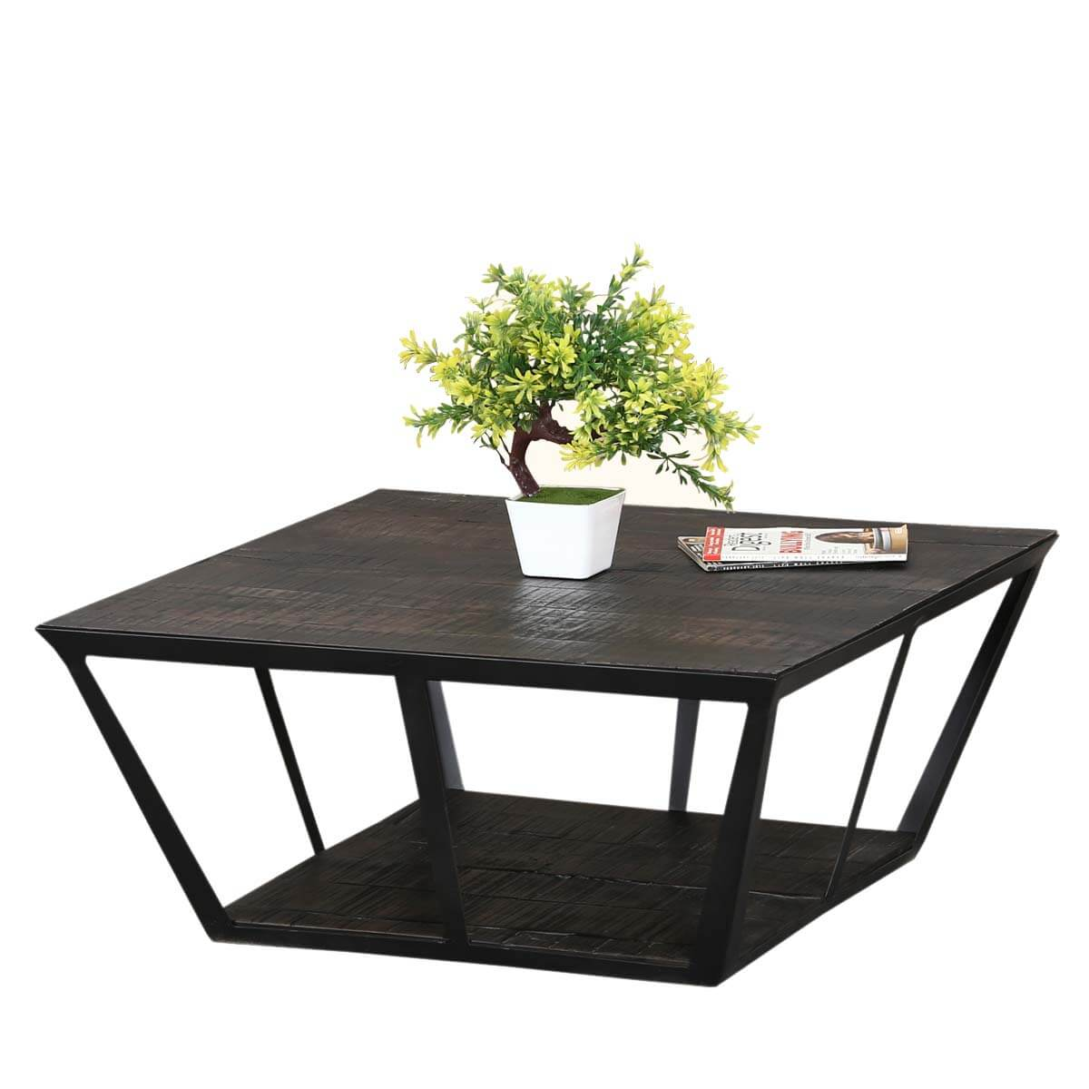 "Industrial Midnight Mango Wood & Iron 27"" Sq 2 Tier Coffee Table"