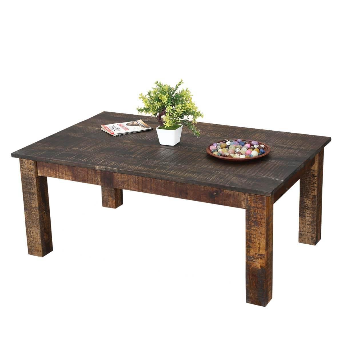 Rustic Real Mango Wood 43 Long Livingroom Coffee Table