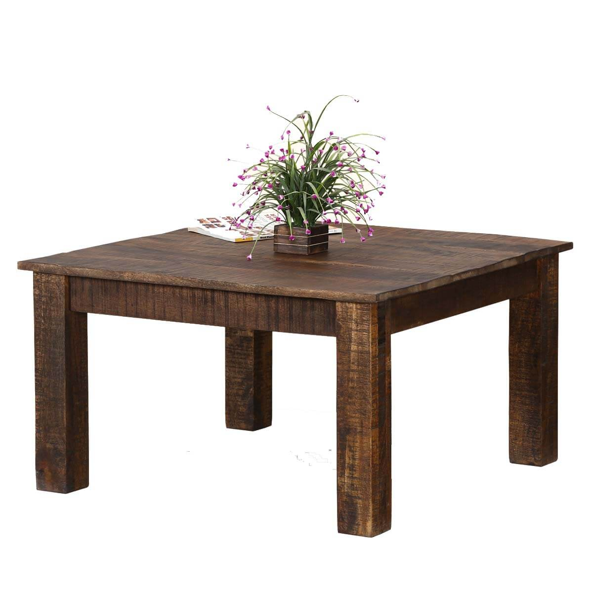Rustic real solid mango wood 31 square coffee table for Traditional square rustic coffee table design