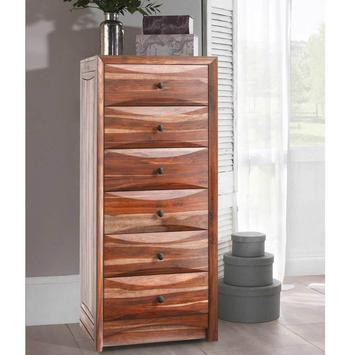 modern pioneer solid wood 7 drawer bedroom tall dresser. Black Bedroom Furniture Sets. Home Design Ideas