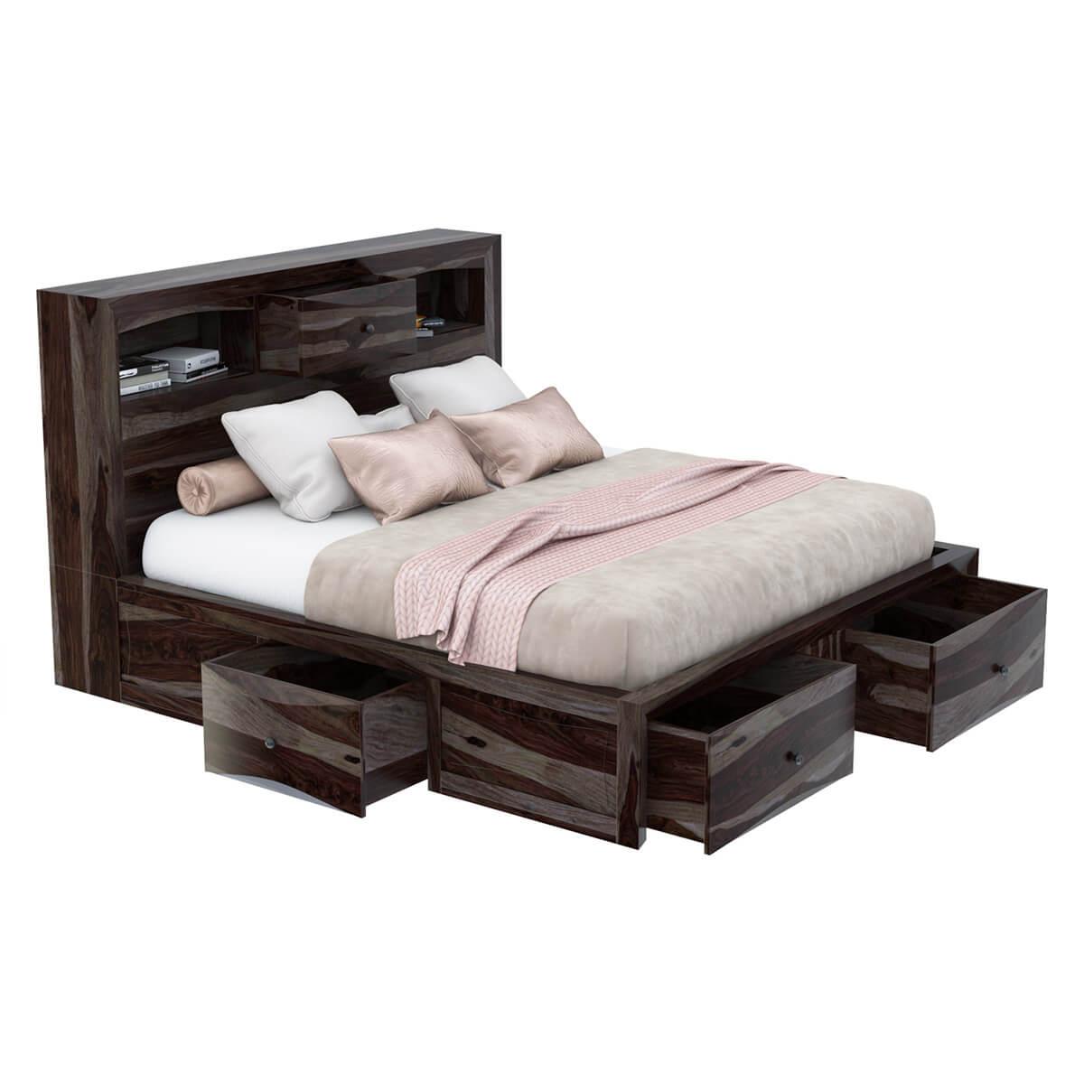 Modern Pioneer Solid Wood King Storage Captains Bed