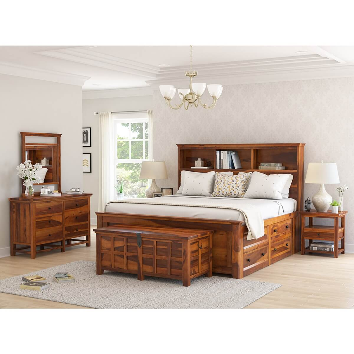 Mission Modern Solid Wood King Size Platform Bed 7pc Bedroom Set