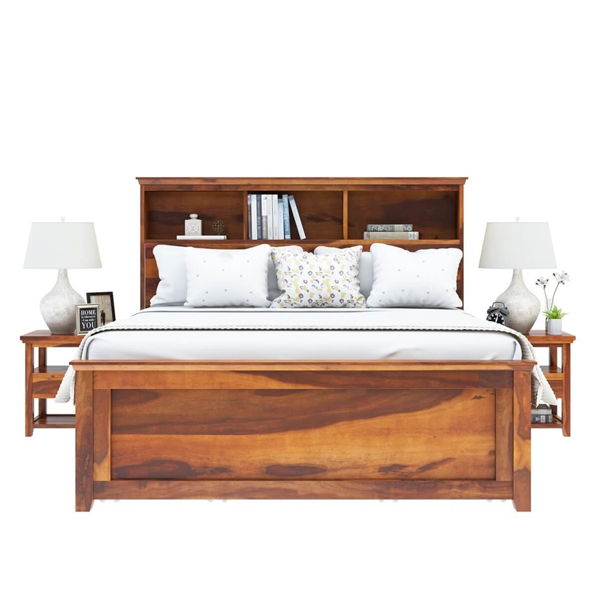 mission modern solid wood platform storage bed. Black Bedroom Furniture Sets. Home Design Ideas