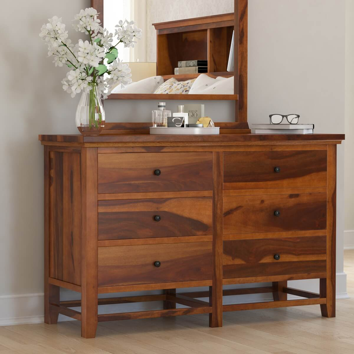 Mission Modern Solid Wood 6-Drawer Bedroom Chest