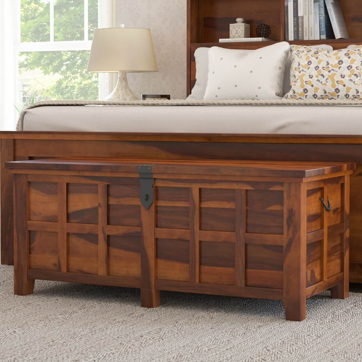 Mission Modern Solid Wood Standing Bedroom Trunk Chest