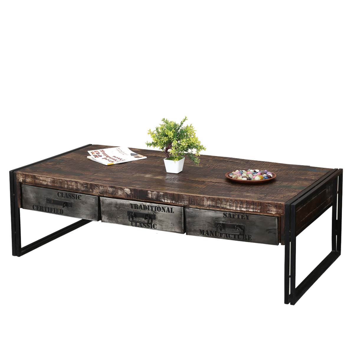 Industrial Midnight Mango Wood Iron 60 Coffee Table W Drawers